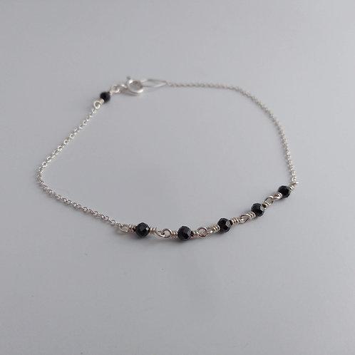 Black Spinel Link Bracelet