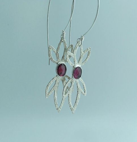 Oval Garnet, Leaf Earrings