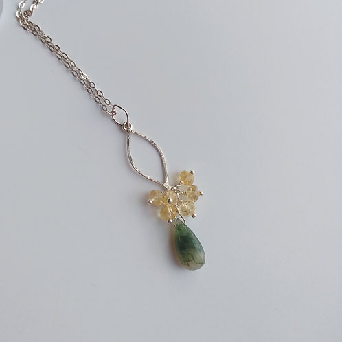 Moss Agate/Citrine Drop Cluster Necklace