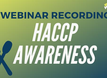 HACCP Awareness Training (Webinar Recording)