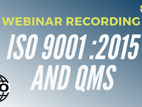 Introduction to Quality Management Systems (QMS) with ISO9001:2015