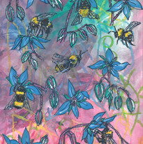 Bees and Borage, mixed media on paper, 2020