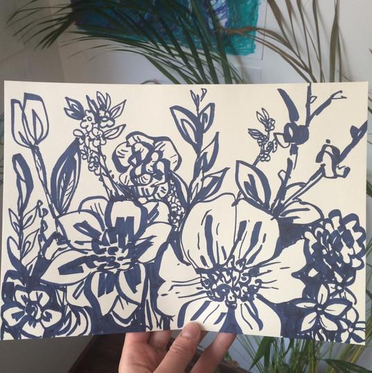 Drawing for Joy - Indigo Blooms, pen on paper, 2019