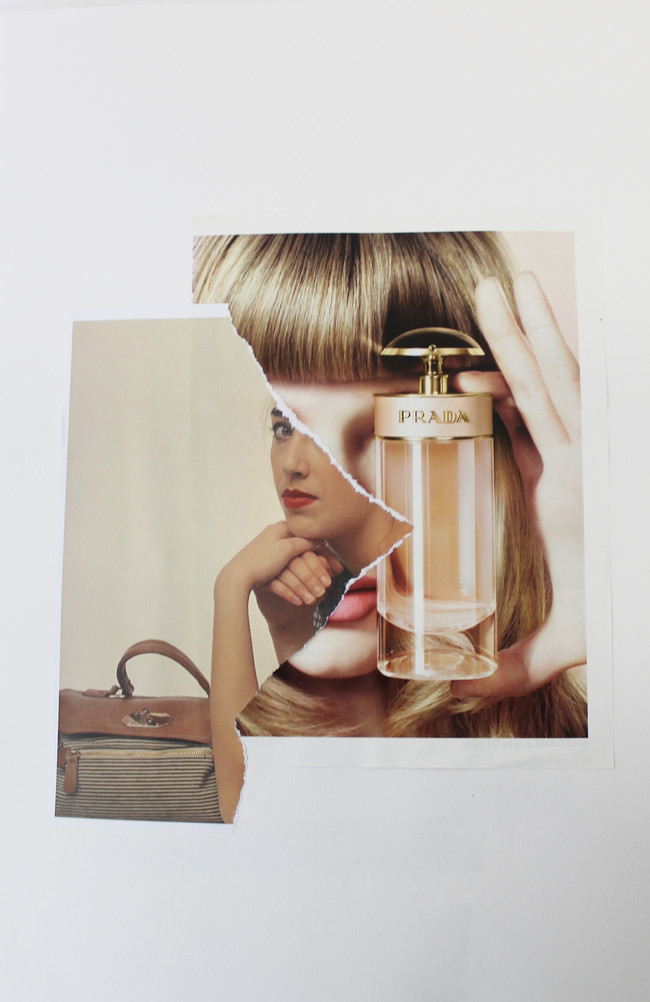 Collage i, Perfume Series, Fluore$cent, collage on paper, 2013