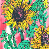 Sunflowers, mixed media on paper, 2019.