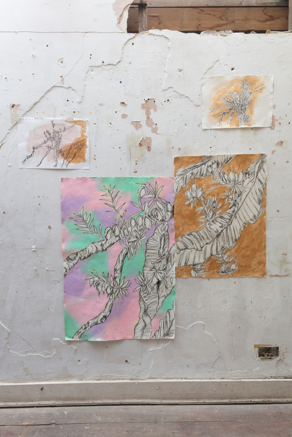 Oma's Garden: Dreams and Entanglement, charcoal and acrylic onrecycled cottons, acrylic,duvet, dirt, 2018