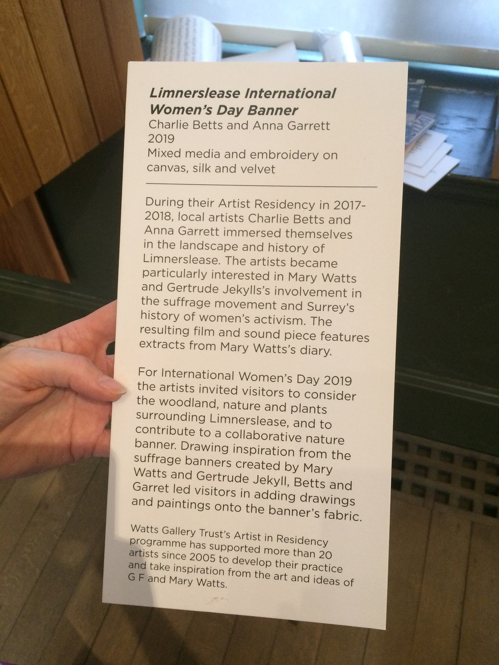 International Women's Day Banner, Raising the Banner exhibition, Mary Watts Gallery, part of Limnerslease Residency, Watts Gallery Artist Village, 2019