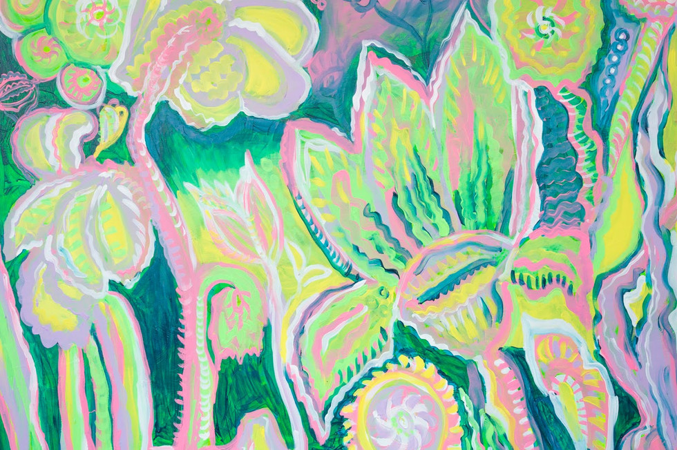 Realm of the Superweeds - Restelss yet Sessile, acrylic on board, 2018, (detail)