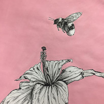 Bee and Hibiscus, ink and acrylic on paper, 2020