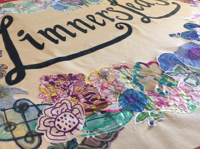 International Women's Day Banner, Raising the Banner exhibition, Mary Watts Gallery, part of Limnerslease Residency, WattsGallery Artist Village, 2019