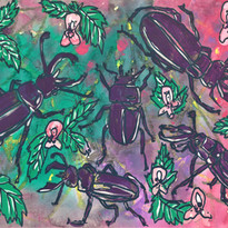 Stag Beetles and Stinging Nettles, mixed media on paper, 2020.
