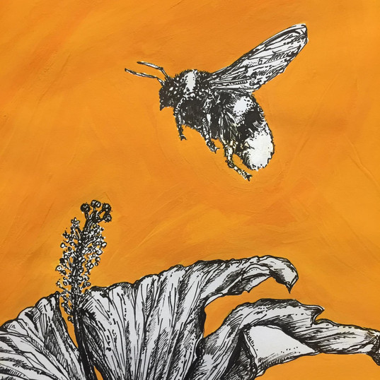 Bee and Hibiscus, For Vicki, ink and gouache on paper, 2020.