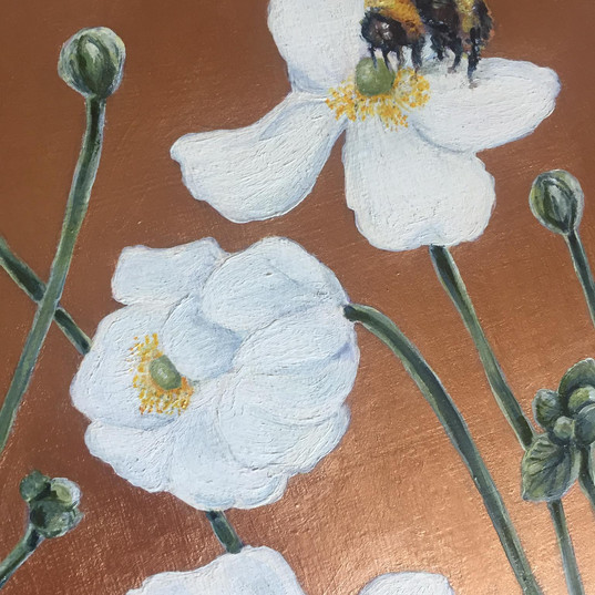 Bees and Anemones, For Daniel, oil on board, 2020. (detail)