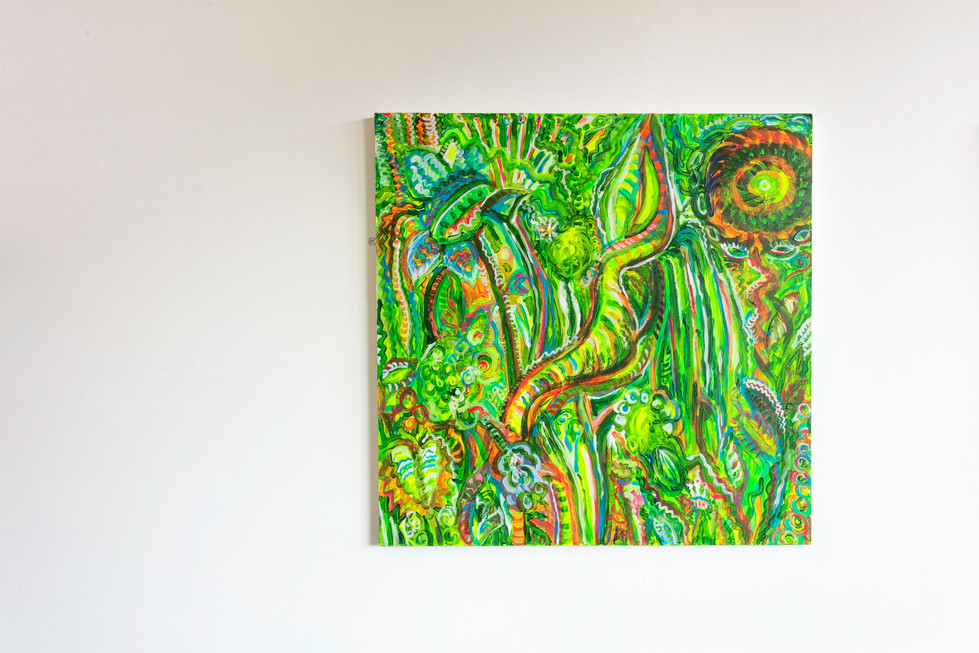 Realm of the Superweeds - Time Jungle, acrylic on board, 2018