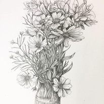 Daniel's Flowers, For Eveline, pencil on paper, 2020.