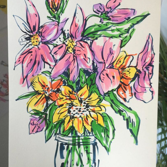 Drawing for Joy - Jam Jar Flowers, For Robyn, pen on paper, 2019