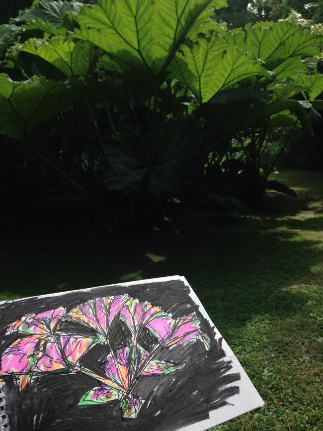 Pretty Monstrous, mixed media on paper, Hannah Peschar Sculpture Garden, as Artist in Residence, 2017