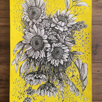 Melancholic Sunflowers, For Clare, ink and gouache on paper, 2020.