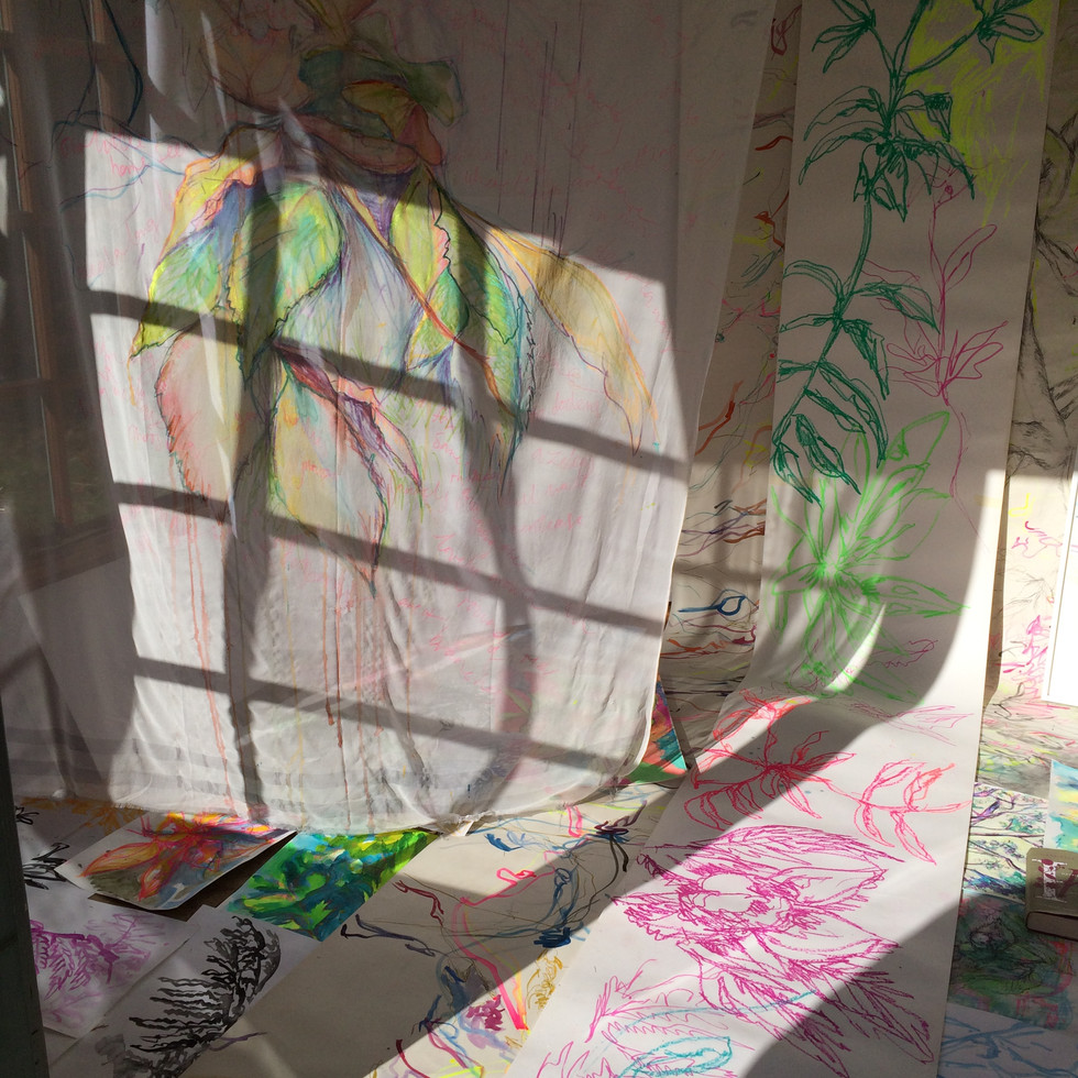 Installation in the Summerhouse Limnerslease Residency, collaborative artists in residence with Charlie Betts, at Watts Gallery Artist Village, 2019
