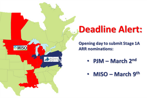 Deadline Alert for PJM and MISO ARR