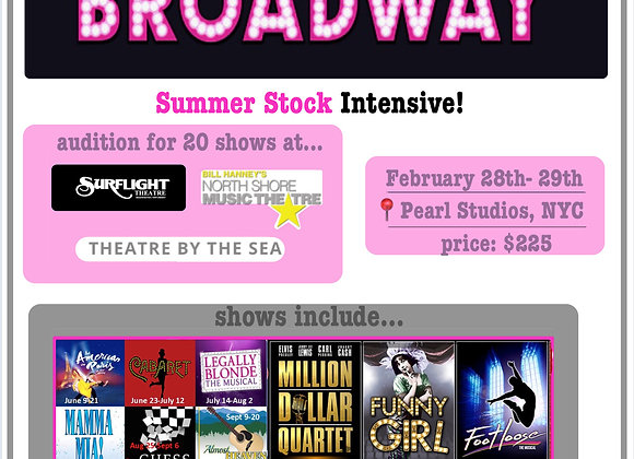 Summer Stock Intensive NYC Feb 28-29, 2020