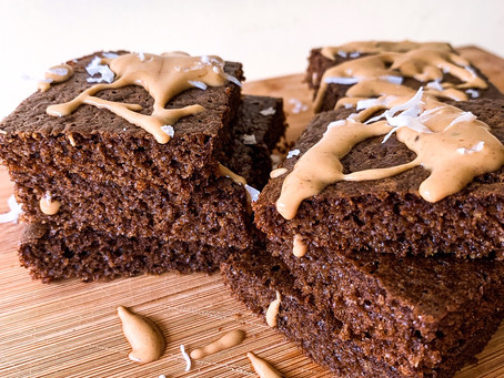 Fluffy Batter Brownies with Peanut Butter Drizzle
