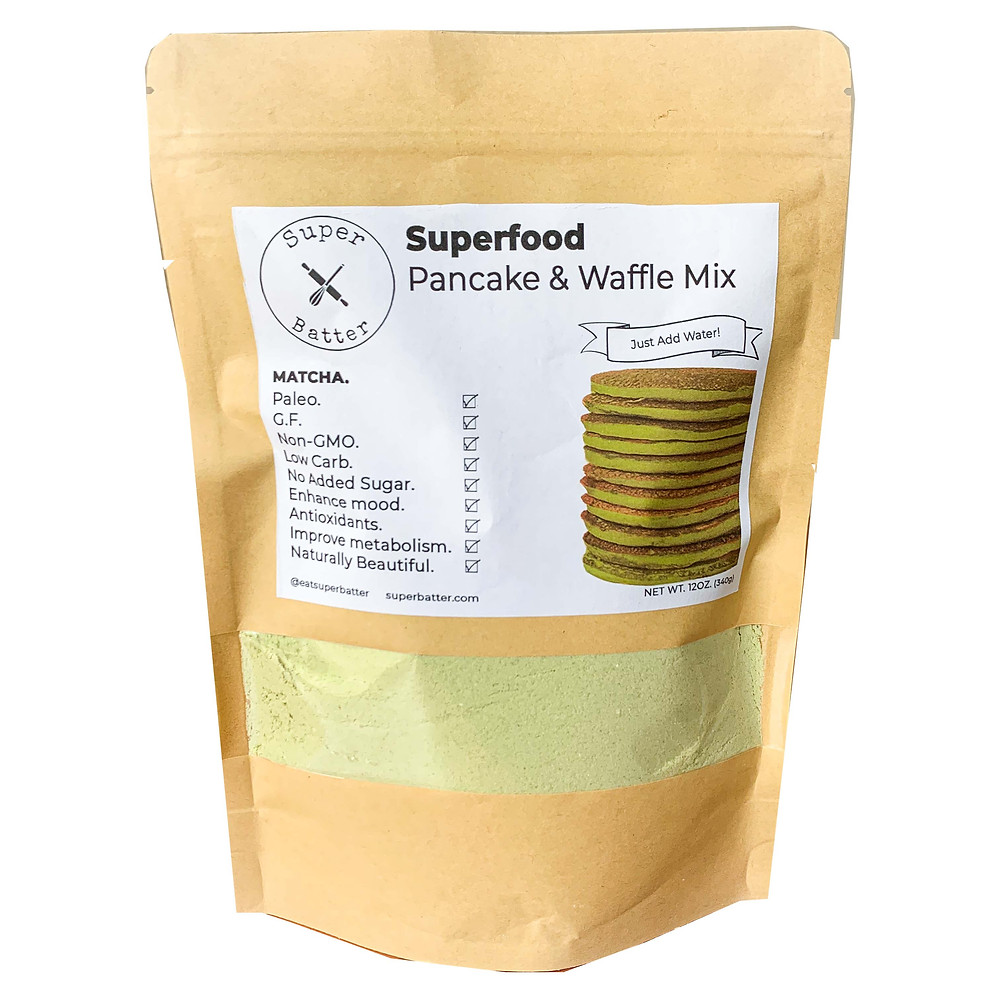 Super Batter provides a beautiful green matcha mix in natural paper packaging for a healthy breakfast.