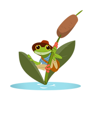 An illustration of a hipster frog hanging on to a Reed Plant