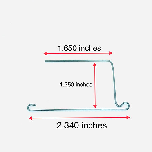 .035 inches wire diameter, 2.340 inches x 1.650 inches x 1.250 inches
