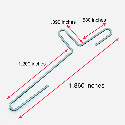 .032 inches wire diameter, .150 inches loop OD, 1.860 inches length