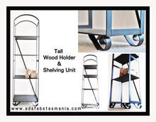 Tall wood shelves