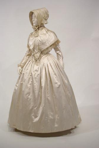 Cream Satin Dress, English, mid 1840s