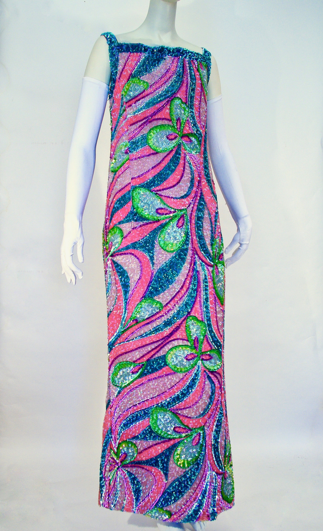 Sequinned and Beaded Silk Evening Dress by Harry Algo, Paris, c. 1966