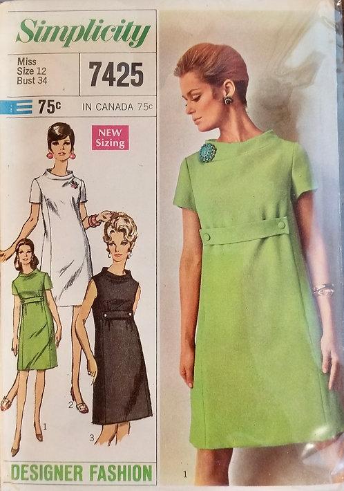 1967 Simplicity dress pattern #7425