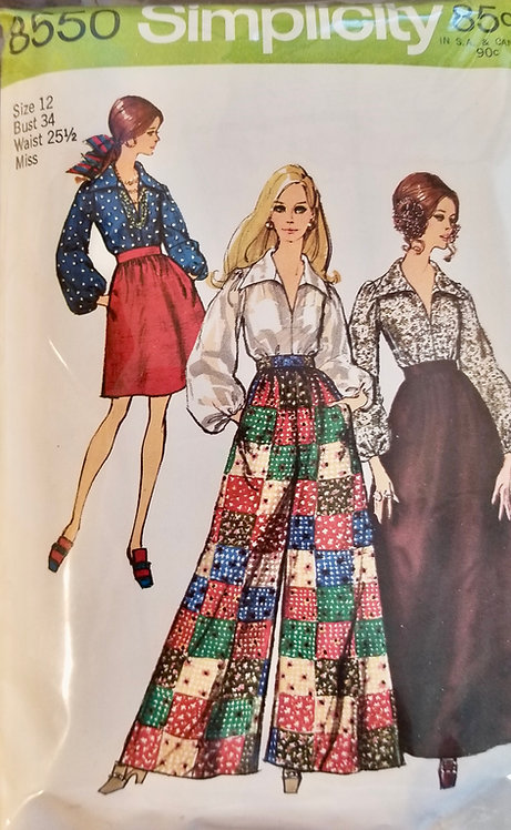 1969 Simplicity pants and blouse pattern #8550