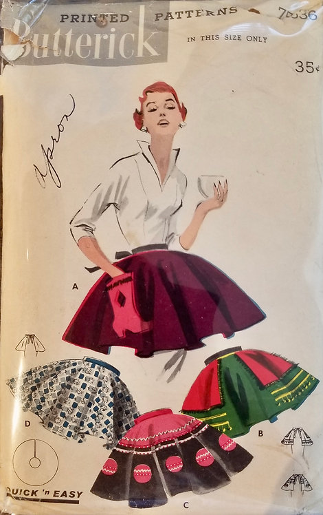 1955 circa Butterick apron pattern
