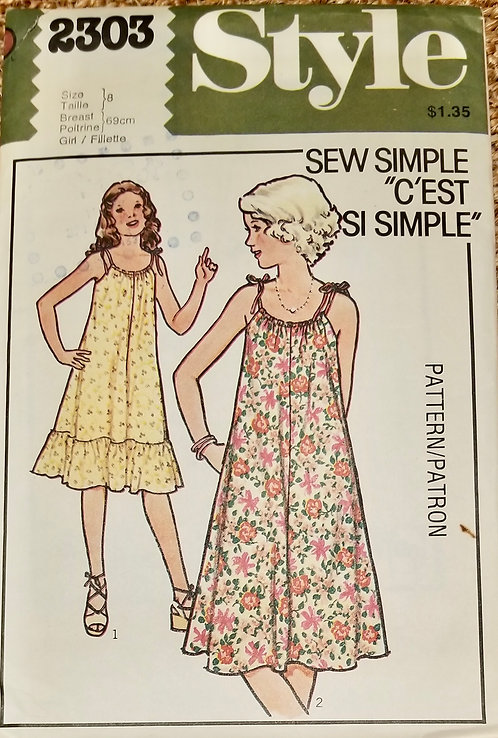 1978 Style shift dress pattern #2303