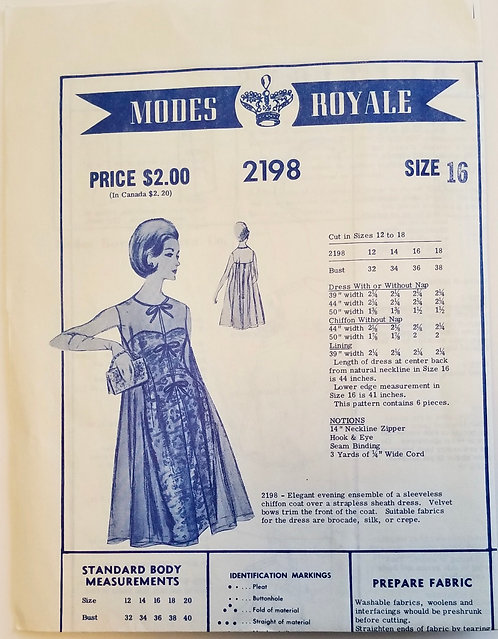 Early 1960s Modes Royale #2198 dress pattern