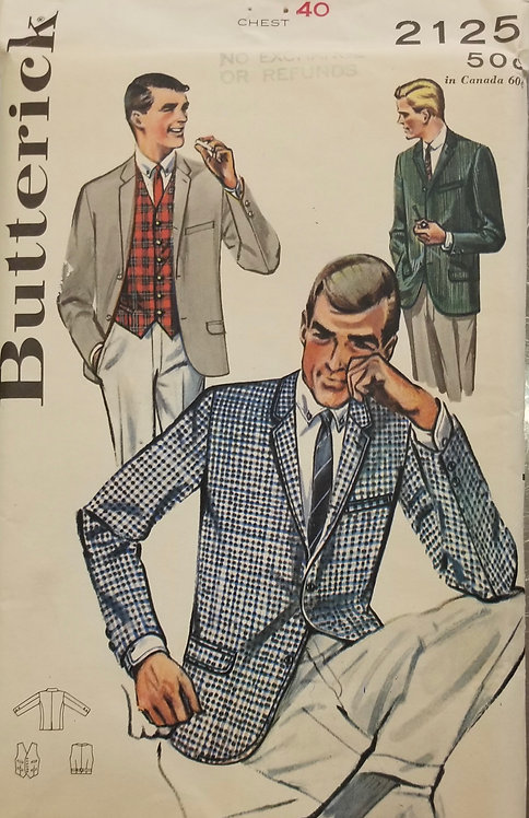 1962 Butterick men's jacket and vest pattern #2125