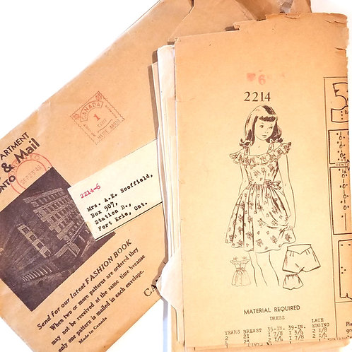 1948 Globe & Mail Pattern Dept. #2214 - for girl's dress