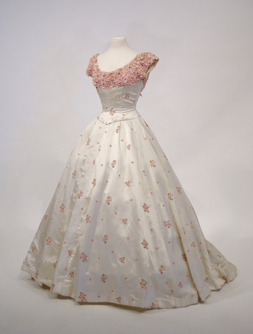 Pink Floral Embroidered Rayon Satin Dress, 1955
