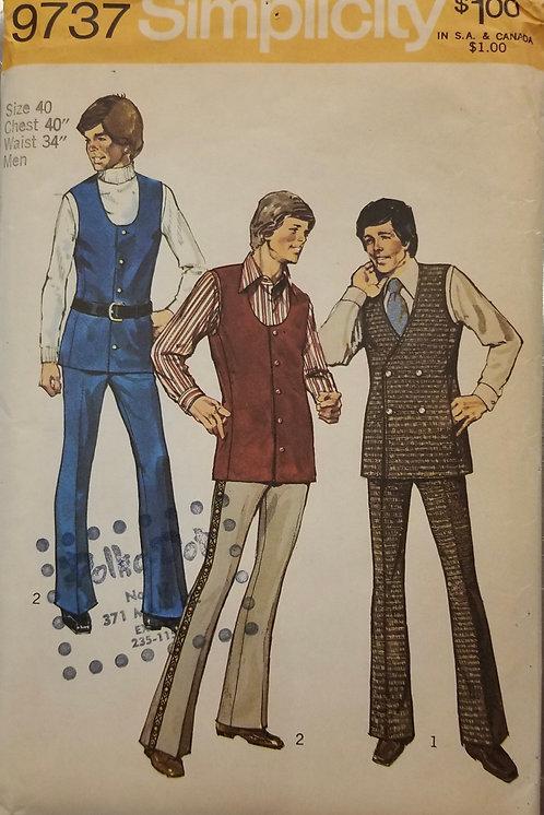 1971 Simplicity men's pants and vest pattern #9737
