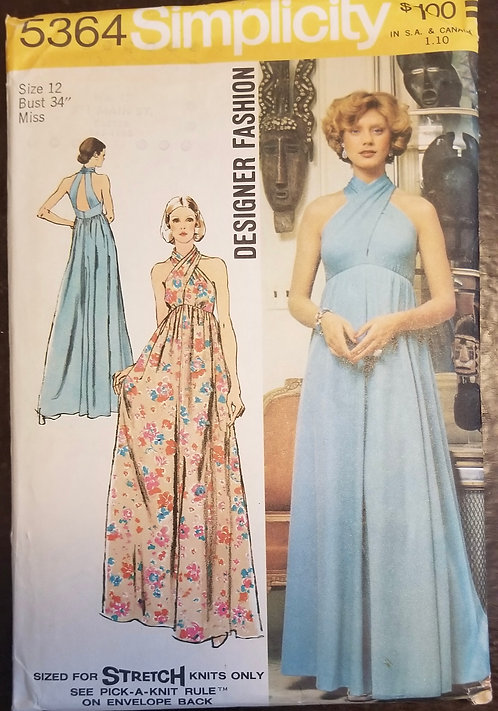 1972 Simplicity pattern #5364 for evening dress