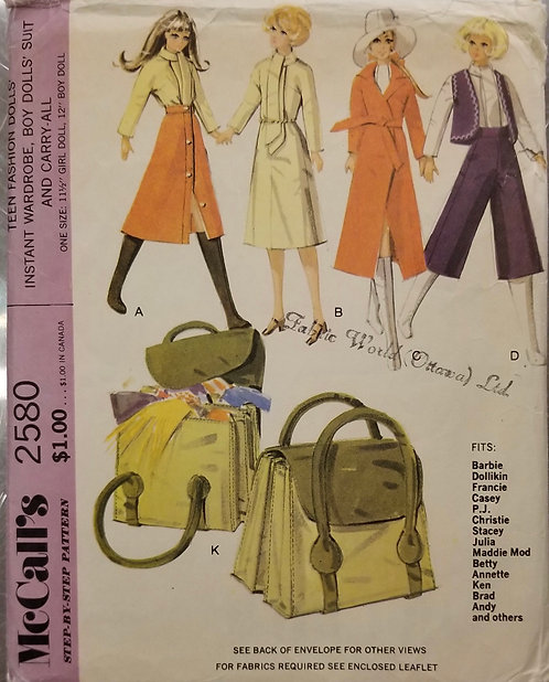 1970 McCall's doll clothes pattern #2580