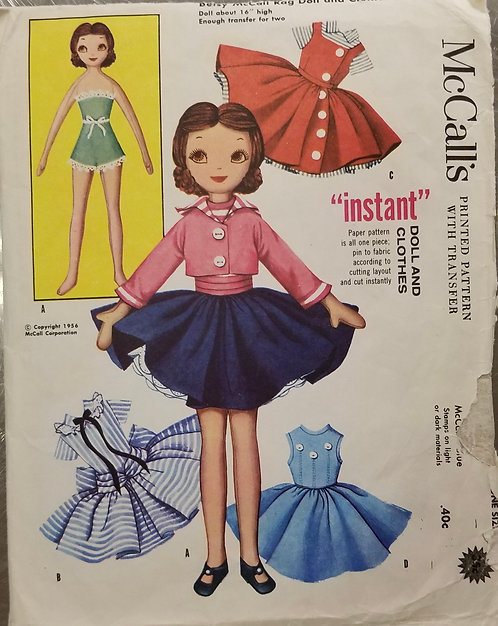 1956 Betsy McCall Rag Doll and clothes pattern #2097