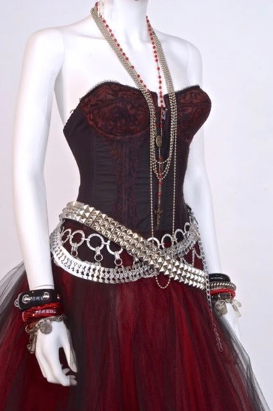 Clubwear Outfit made up from Vintage and Found Pieces including Corselette, Charm Bracelets, Bathroom Chain and Rosary, Canadian, c. 1984