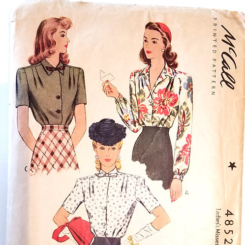 1942 McCall's #4852 Blouse