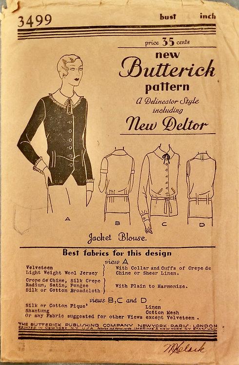 c. 1930 Butterick pattern #3499