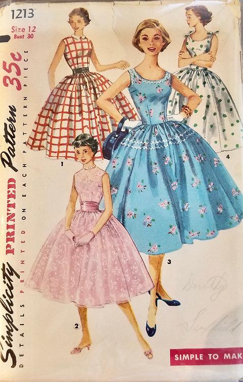 1955 circa Simplicity teenage dress pattern #1213