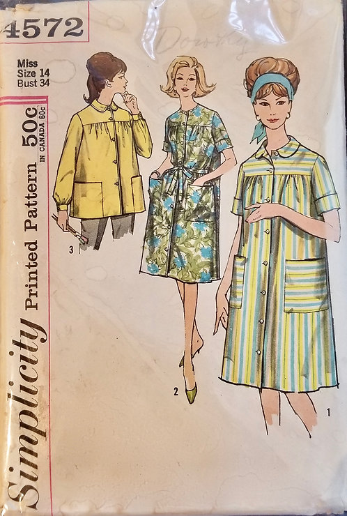 1962 circa Simplicity smock/duster coat pattern# 4572